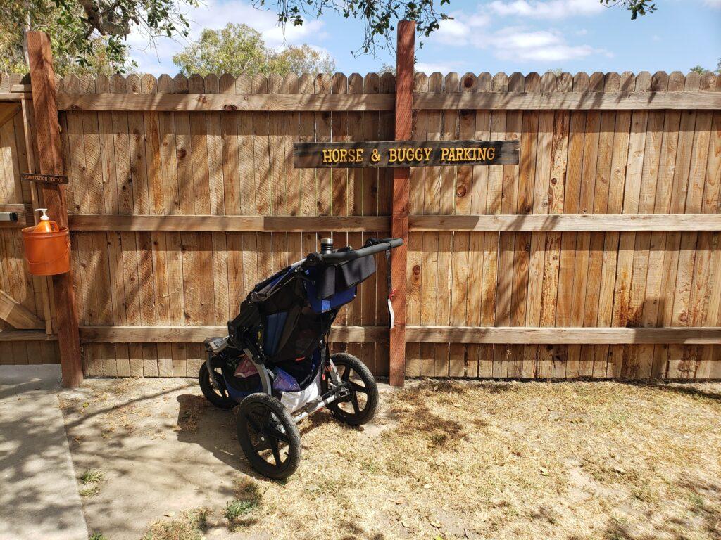 Horse and buggy (stroller) parking at El Dorado Frontier
