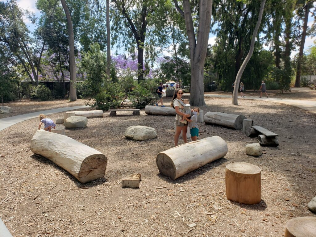 Large rocks and logs at the El Dorado Nature Center in Long Beach