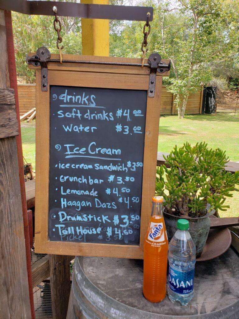 Menu of drinks and ice cream available at El Dorado Frontier