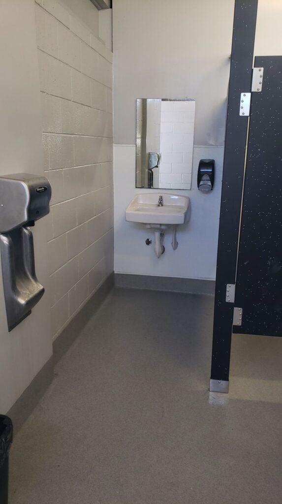 a well maintained park bathroom