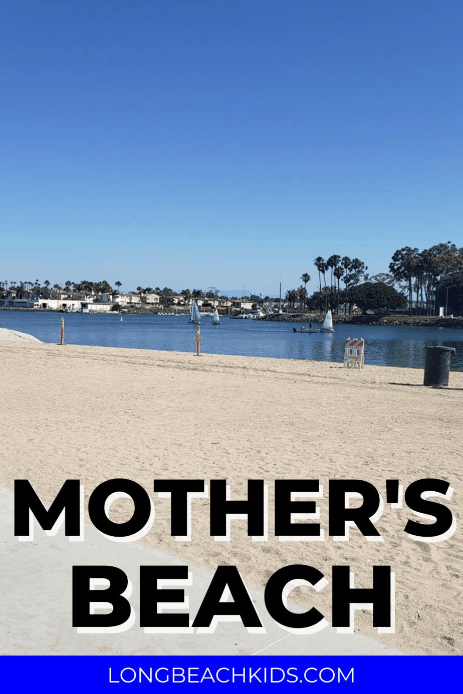 a calm sandy beach; text: mother's beach